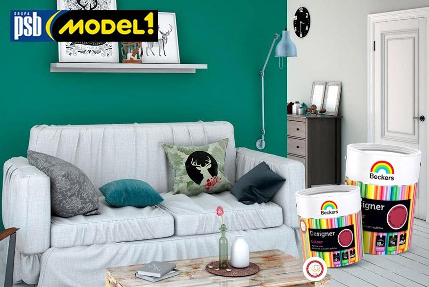 Zielona ściana w salonie pomalowana farbą Beckers Designer Colour